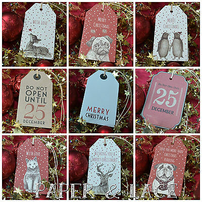 East Of India Retro Christmas Gift Tags Choice of Designs Vintage Shabby Chic