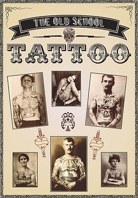 """TARGA VINTAGE """"1900 TATTOO THE OLD SCHOOL"""" Pubblicità, ADVERTISING, POSTER,PLATE"""