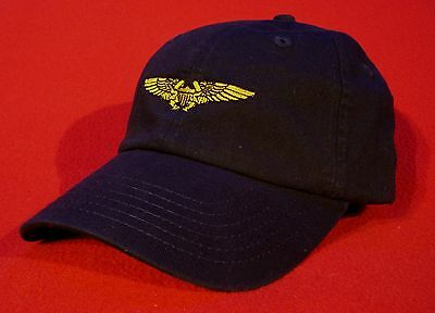 NAVAL FLIGHT OFFICER NFO Wings Ball Cap, BLUE low-profile embroidered wings hat
