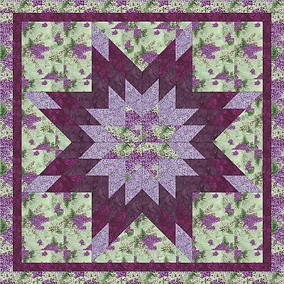 LILACS BLOOMING STAR QUILT TOP; Machine Pieced, not quilted, made in the USA!
