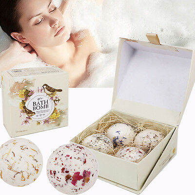 4Pcs/Set Natural Sea Salt Bath Ball Lavender Rose Flower Bubble Bath Bombs GIFT