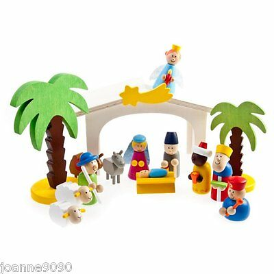 Gisela Graham 15 Piece Wooden Nativity Toy Stable Play Set Christmas Decoration