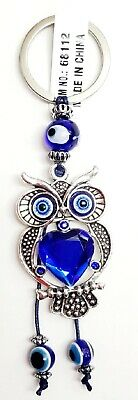 Lucky Owl on Moon Key Chain Hanging Ring Feng Shui Blue Evil Eye Protection