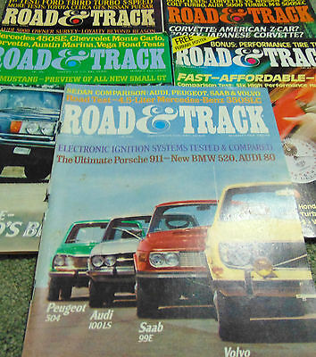 5 Road and Track Magazines from early 70's and  early 80's
