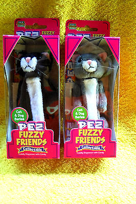 New In Packs 2 Cat & Dog Series Cats Oscar & Boo Fuzzy Pez Dispensers-Retired!