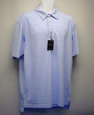 New Mens Dunning Golf polyester golf polo shirt LARGE blue white striped