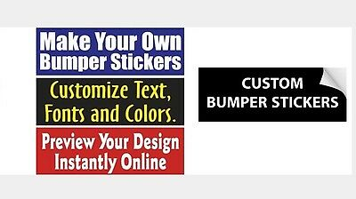 "6 pcs 3""x10"" Custom Printed Full Color Outdoor Vinyl Bumper Sticker Logo Decals"
