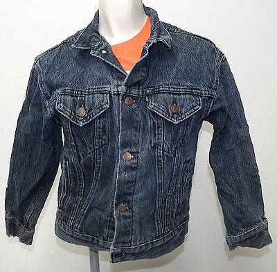 vtg Levi's GRAYISH BLUE Jean Jacket BOYS MED 80s BLACK TAB usa trucker youth M