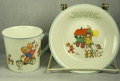 Shelley Mabel Lucie Attwell Childs Bowl w/ Caravan Man & Cup w/ Boo Boo Design