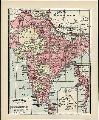 India British Possessions named c.1890 old map hand colored Protection states