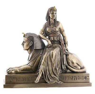 9.75 Inch Cleopatra Sitting on a Sphinx Egyptian Statue Sculpture Figurine