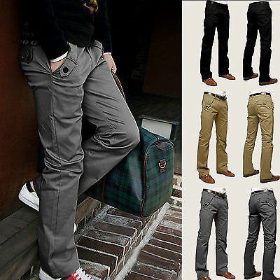 Mens Casual Chinos Slim Jeans Straight-leg Trouser Formal Business Leisure Pants