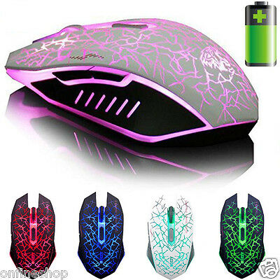 Rechargeable 2.4GHz Wireless 7D 2400DPI 6 Buttons Optical Gaming Mouse Mice
