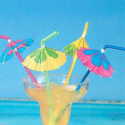 20 Cocktail Umbrella Drinking Straw Assorted Party Bbq Hawaiian Theme Decoration