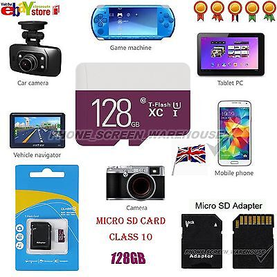 128GB Class 10 Micro SD Card & free Adapter For Smartphones Tablets Cameras etc