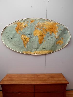 Vintage INDUSTRIAL Old SCHOOL Wall WORLD  MAP Canvas HANGING 172cm Adelaide
