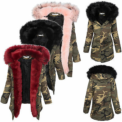 Damen winter parka jacke army-look damenjacke kunstfell kapuze warm 36 38 40