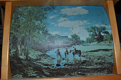 Vintage 1950s TV Lamp Horses Mountains Western Cowboys 2-sided