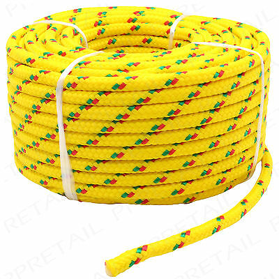 LARGE 20M LONG x 6mm THICK ROPE HOLDS 300Kg Yellow Braided Strong Utility Cord
