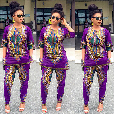 Casual Womens Half-Sleeve vintage African Print Tops+ Pants 2 PCS Dashiki Outfit