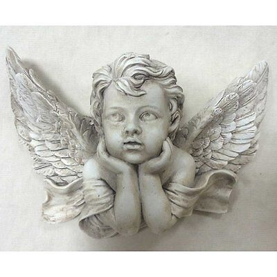 Gorgeous Vintage Cherub Angel Medium Wall Plaque Grave Memorial New Boxed 39704