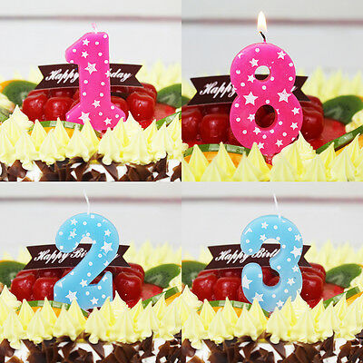 Birthday Cake Numbers Decoration Candles Party Anniversary Candles  Pink &Blue