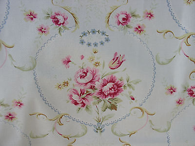 American Folk Fabric Meadow Rose Upholstery Cotton 1890's Repro