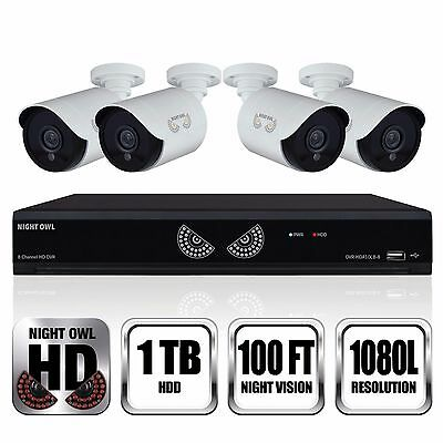 Night Owl 8 Channel | 4 Camera 1080p Security System with 1TB HD DVR - NEW