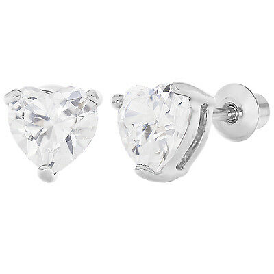Rhodium Plated Clear CZ Heart Love Screw Back Earrings Girls Teens