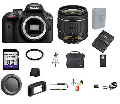 Nikon D3400 DSLR Camera - Black with 18-55mm Lens 8GB Top Value Bundle