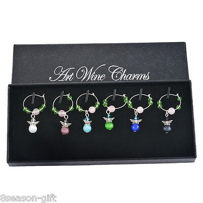 1Box Mixed Christmas Angel Glass Wine Charms Mark Ring Table Decorations