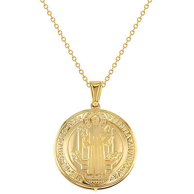 """18k Gold Plated Reversible Religious Medal St Benedict Pendant 19"""""""