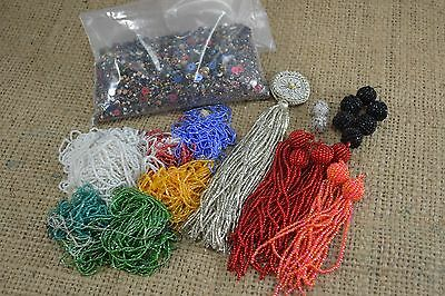 Collection of vintage loose beads tassels and buttons embellishment craft