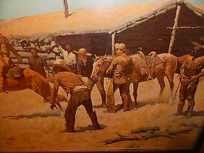 Frederick Remington Western Print on Canvas Beautifully Framed Excellent Conditi