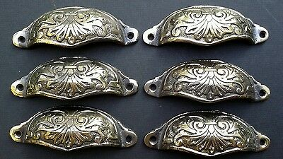 """8 Vict Antique Style Apothecary Cabinet Pull Handles 2-7//8/""""w Brass Oak Leaf #A3"""