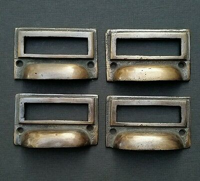 "4 tarnished brass File Apothecary drawer pull Handles 2 3/4"" Label holders #F1"