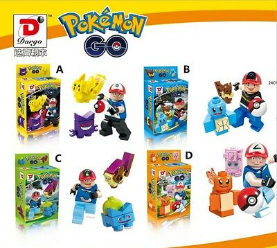 4 pcs Pokemon GO Pikachu minifigure Building block toy Fit for Lego without box