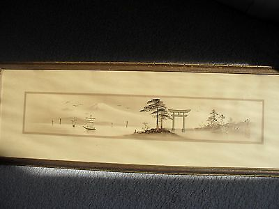 Antique Asian Japanese Hand Painting Gilt Accents