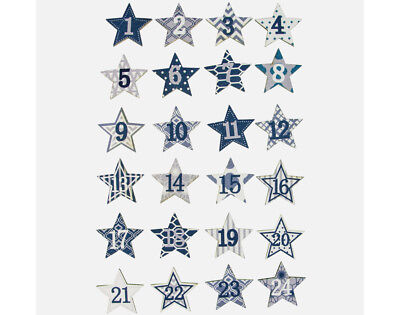 24 Wooden Star Christmas Advent Calendar Numbers - Blue & White