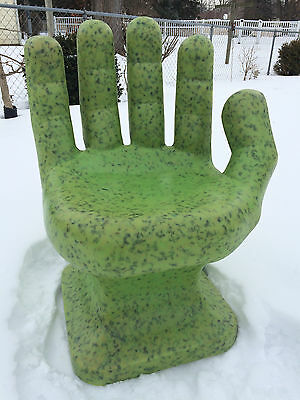 "GIANT Granite Neon Green HAND SHAPED CHAIR 32"" adult 70's Retro EAMES iCarly NEW"
