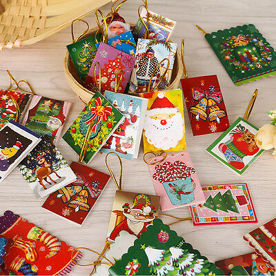 20Pcs/Lot Greeting Cards Merry Christmas Xmas Theme Wishes Card Gift Decor Cute