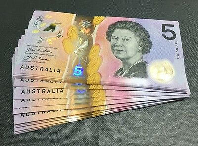 Australia: 2016 NEW GENERATION $5 Banknotes, Consec Run of 10 UNC, JUST RELEASED