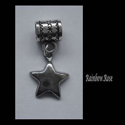 PEWTER CHARM suit European Bracelet #2308 STAR (15mm x 12mm) silver tone