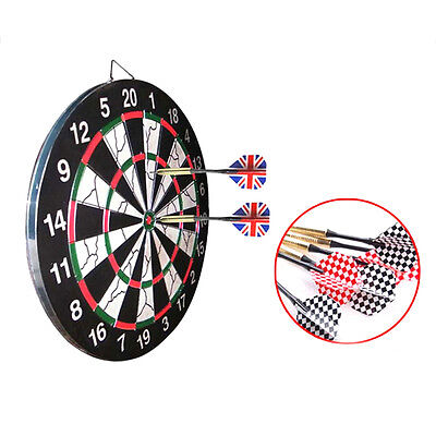 "18"" Full Size Round Wire Dartboard Dart Board Game Tournament + 6 Flag Darts BY"