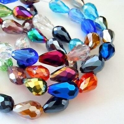 30 AB Plated 7x5mm Drop Faceted Teardrop Crystal Glass Pendants Mixed (BOX37)