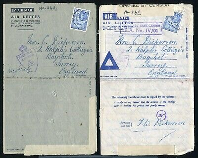 British Somaliland World War Two Army Censor Stationery Airletters