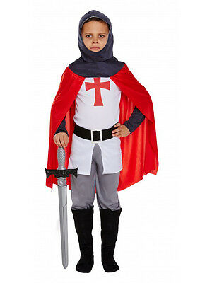 Age 4-12 Boys Medieval Knight Costume Kids Childrens Fancy Dress St George Child