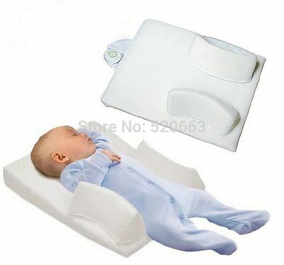Baby Infant Soft Anti Roll Pillow Sleep Positioner Prevent Head Cushion White