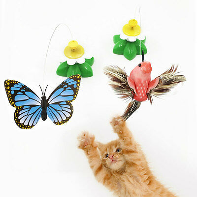 Pet Kitten Electric Rotating Butterfly Flower Cat Teaser Wire Interactive Toy