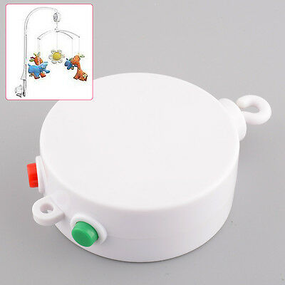 White 12 Melodies Baby Kids Mobile Windup Crib Bell Autorotation Music Box Cots